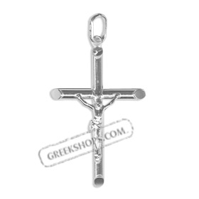 Platinum Plated Sterling Silver Pendant - Rounded Crucifix (38mm)