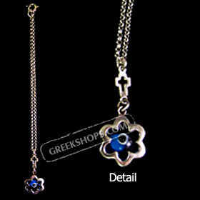 Sterling Silver Car Rear-View Mirror Charm - Cross and Flower Pendant w/ Mati Evil Eye