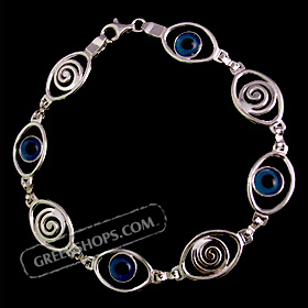 Sterling Silver Eye Shaped Bracelet w/ Evil Eye