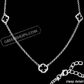 Platinum Plated Sterling Silver Necklace - Three Floral Charms w/ Onyx Stone