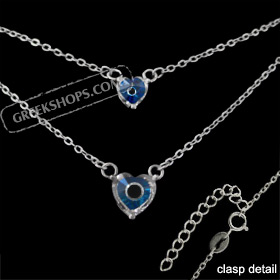 The Amphitrite Collection - Sterling Silver Necklace - Double Chain w/ Two Mati Hearts