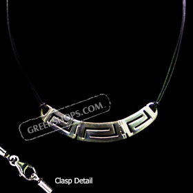 Sterling Silver Necklace w/ Greek Key Cut Out