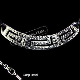 Sterling Silver Necklace w/ Greek Key Cut Out & Hammered Detail