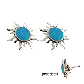 The Neptune Collection - Sterling Silver Earrings - Celestial Sun and Opal (12mm)