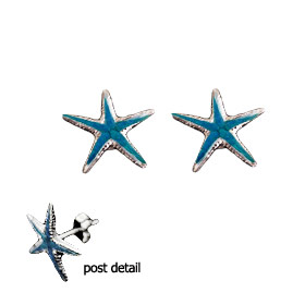 The Neptune Collection - Sterling Silver Earrings - Starfish and Opal (12mm)