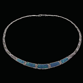 The Neptune Collection - Sterling Silver Necklace - Opal & Greek Key Motif Links (19mm)