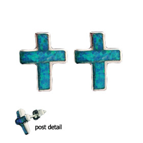 The Neptune Collection - Sterling Silver Earrings - Greek Orthodox Cross and Opal (6mm)