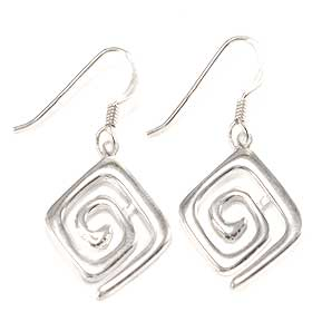 Sterling Silver Square Minoan Swirl  Earrings (15mm) w/ French Hooks