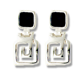 Sterling Silver Square Greek Key Post Earrings with Lapis Stone