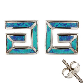 The Neptune Collection - Sterling Silver Earrings - Greek Key Square and Opal (9.5mm)