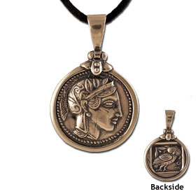 Athena Tetradrachm Silver Coin Replica Sterling Silver Pendant (26mm) w/ leather cord