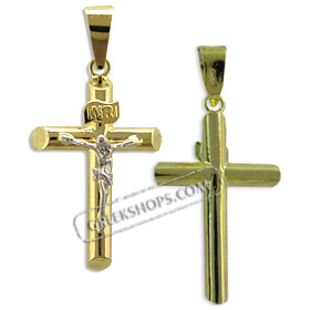 18k Gold Cross Pendant - Crucifix with White Gold (30mm)