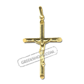 24k Gold Plated Sterling Silver Pendant - Rounded Crucifix (38mm)