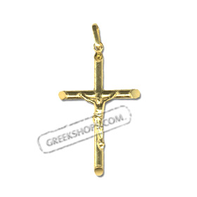24k Gold Plated Sterling Silver Pendant - Rounded Crucifix (34mm)