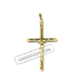 24k Gold Plated Sterling Silver Pendant - Rounded Crucifix (26mm)