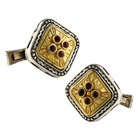 Palaiologan Collection - 24k Gold Plated Sterling Silver Cufflinks - 4 Stone Rounded Square Design