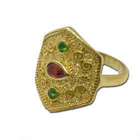 Mystras Byzantine Collection, Gold Plated Sterling Silver Polygon Ring