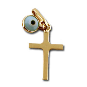 14k Gold Cross with Blue Evil Eye