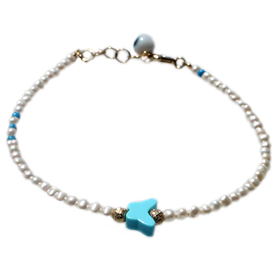 The Nefeli Collection -  Pearl Bracelet with Mother of Pearl Butterfly and Evil Eye (2.5 mm)