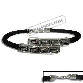 Rubber Bracelet - Round Sterling Silver Double Greek Key (.4cm)