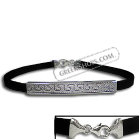 Rubber Bracelet - Punched Sterling Silver Small Greek Key (.4cm)