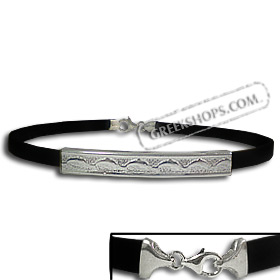 Rubber Bracelet - Punched Sterling Silver Small Minoan Dolphins (.4cm)