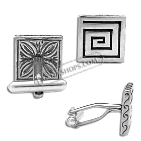 Sterling Silver Cufflinks - Double Sided Greek Key and Floral Square (13mm)