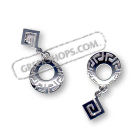 Sterling Silver Earrings - Oval Greek Key Motif Dangle (27mm)