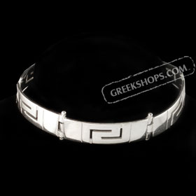 The Athena Collection - Sterling Silver Bracelet w/ Greek Key Links (10mm)