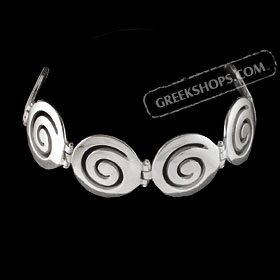 The Ariadne Collection - Sterling Silver Bracelet w/ Swirl Motif Links (22mm)