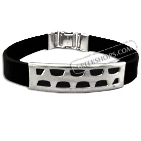 Rubber and Stainless Steel Bracelet with Box Clasp (11mm)