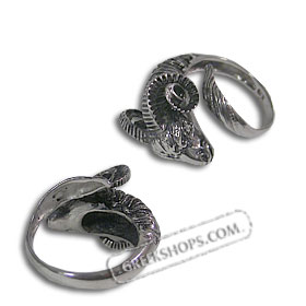 The Venus Collection - Platinum Plated Sterling Silver Ring - Rams Head