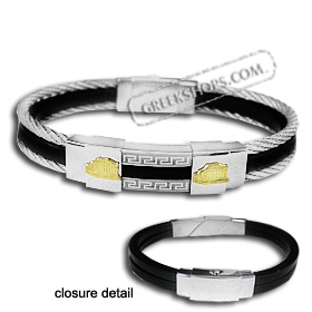 The Hephaestus Collection - Rubber and Steel Bracelet with 18k Gold Emblem - Double Parthenon
