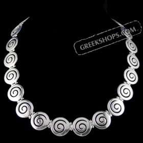 The Ariadne Collection - Sterling Silver Necklace w/ Swirl Motif Links (20mm)