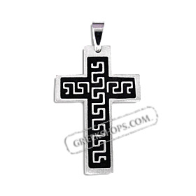 Stainless Steel Pendant - Cross Greek Key Motif (35mm)