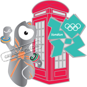 London 2012 Mascot Wenlock Phone Box / Booth Pin