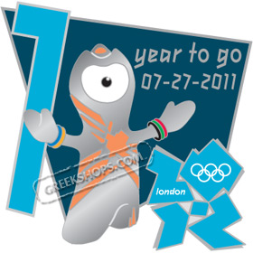 London 2012 Mascot Wenlock 1 Year to Go Countdown Pin