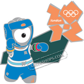 London 2012 Mascot Wenlock Boxing Sports Pin