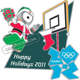 London 2012 Wenlock Happy Holidays Pin Limited Edition