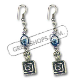 Evil Eye Greek Key Earrings Style SK24