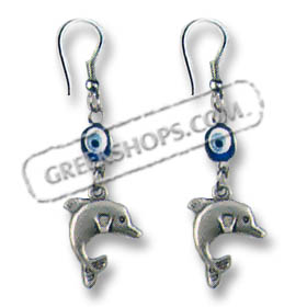Evil Eye Minoan Dolphin Earrings Style SK50