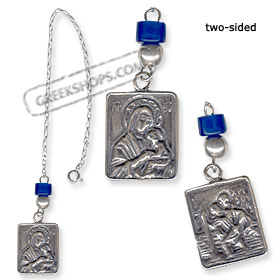 Sterling Silver Rear-View Mirror Charm - Virgin Mary and St. Christopher