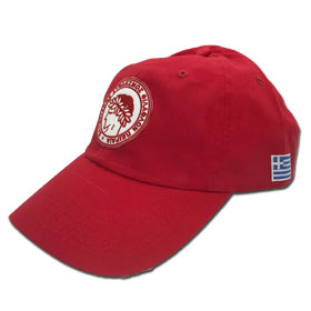 Olympiakos Adjustable Baseball Cap. In Red
