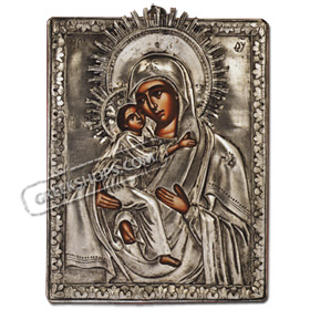 PA86 Orthodox Saint Sterling Silver Icon - Virgin Mary and Christ 14x18cm