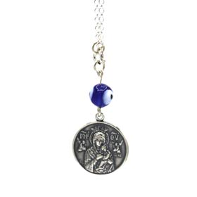 Sterling Silver Car Rear-View Mirror Charm - Virgin Mary & St. Christopher (22mm)
