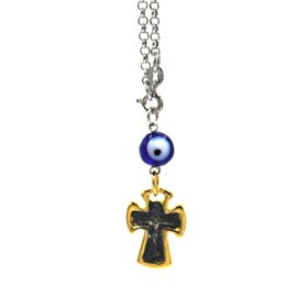 Sterling Silver Car Rear-View Mirror Charm - Two tone Crucifix (22mm)