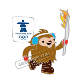 Vancouver 2010 Double Quatchi Carrying Torch Pin