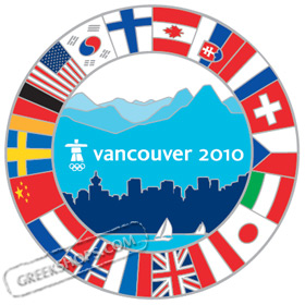 LIMITED EDITION Vancouver 2010 Country Flags Oversized Pin