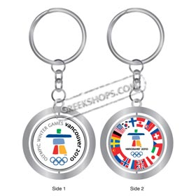 Vancouver 2010 Country Flag Spinner Keychain