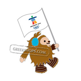 Vancouver 2010 Quatchi Carrying Olympic Flag Pin